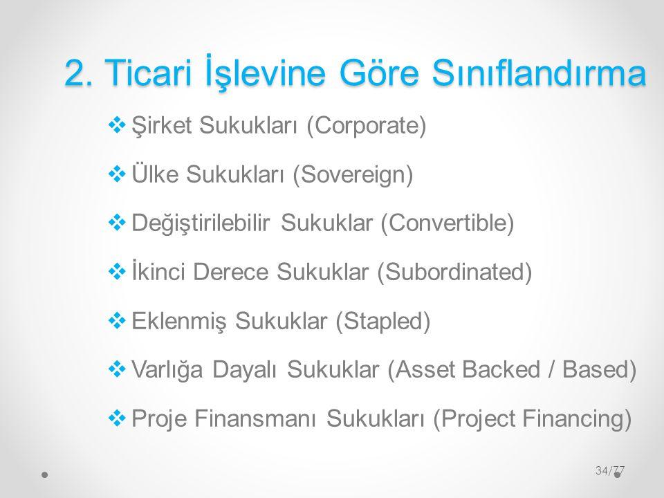 34/77 2. Ticari İşlevine Göre Sınıflandırma  Şirket Sukukları (Corporate)  Ülke Sukukları (Sovereign)  Değiştirilebilir Sukuklar (Convertible)  İk
