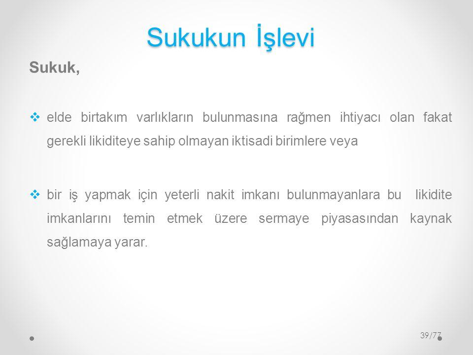 Sukukun İşlevi Sukuk,  elde birtakım varlıkların bulunmasına rağmen ihtiyacı olan fakat gerekli likiditeye sahip olmayan iktisadi birimlere veya  bi