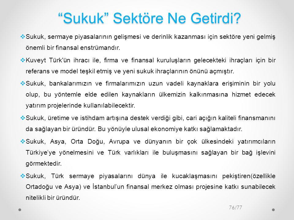 """""""Sukuk"""" Sektöre Ne Getirdi? 76/77  Sukuk, sermaye piyasalarının gelişmesi ve derinlik kazanması için sektöre yeni gelmiş önemli bir finansal enstrüma"""