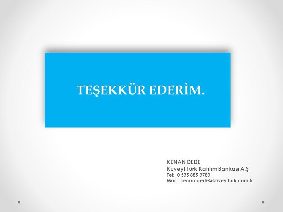 KENAN DEDE Kuveyt Türk Katılım Bankası A.Ş Tel: 0 535 885 3780 Mail : kenan.dede@kuveytturk.com.tr TEŞEKKÜR EDERİM.