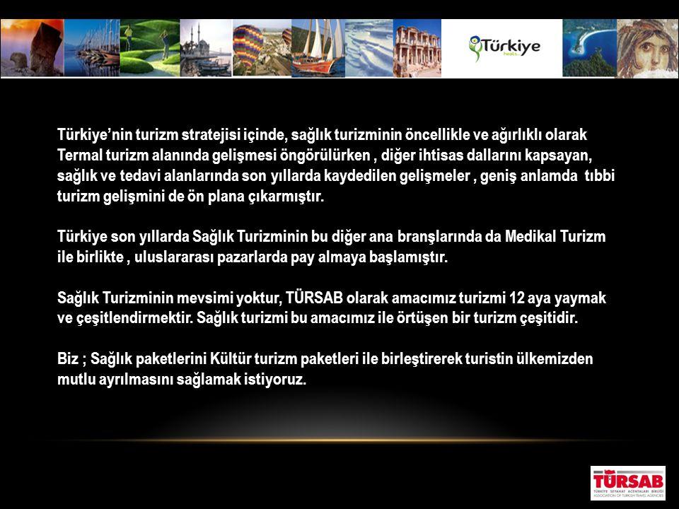 Türkiye'nin turizm stratejisi içinde, sağlık turizminin öncellikle ve ağırlıklı olarak Termal turizm alanında gelişmesi öngörülürken, diğer ihtisas da