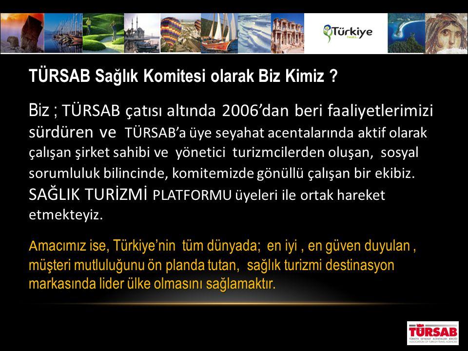 TÜRSAB Sağlık Komitesi olarak Biz Kimiz ? A macımız ise, Türkiye'nin tüm dünyada; en iyi, en güven duyulan, müşteri mutluluğunu ön planda tutan, sağlı