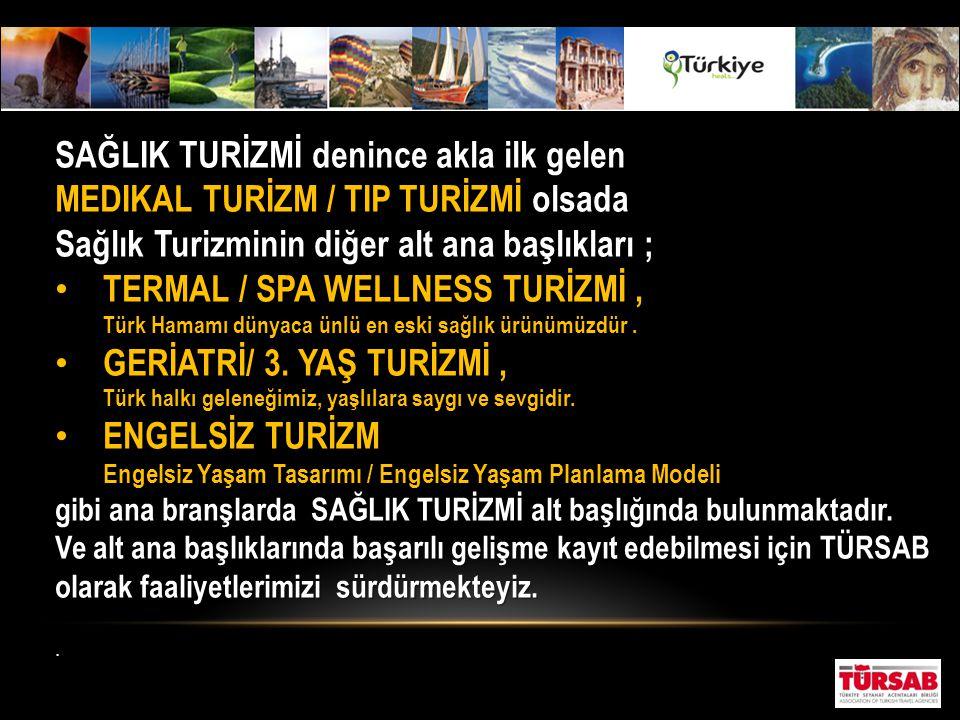 Türkiye'nin turizm stratejisi içinde, sağlık turizminin öncellikle ve ağırlıklı olarak Termal turizm alanında gelişmesi öngörülürken, diğer ihtisas dallarını kapsayan, sağlık ve tedavi alanlarında son yıllarda kaydedilen gelişmeler, geniş anlamda tıbbi turizm gelişmini de ön plana çıkarmıştır.