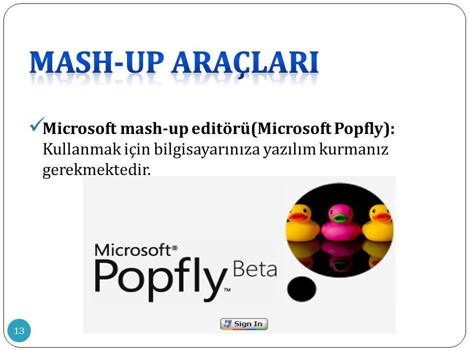 13  Microsoft mash-up editörü(Microsoft Popfly): Kullanmak için bilgisayarınıza yazılım kurmanız gerekmektedir.