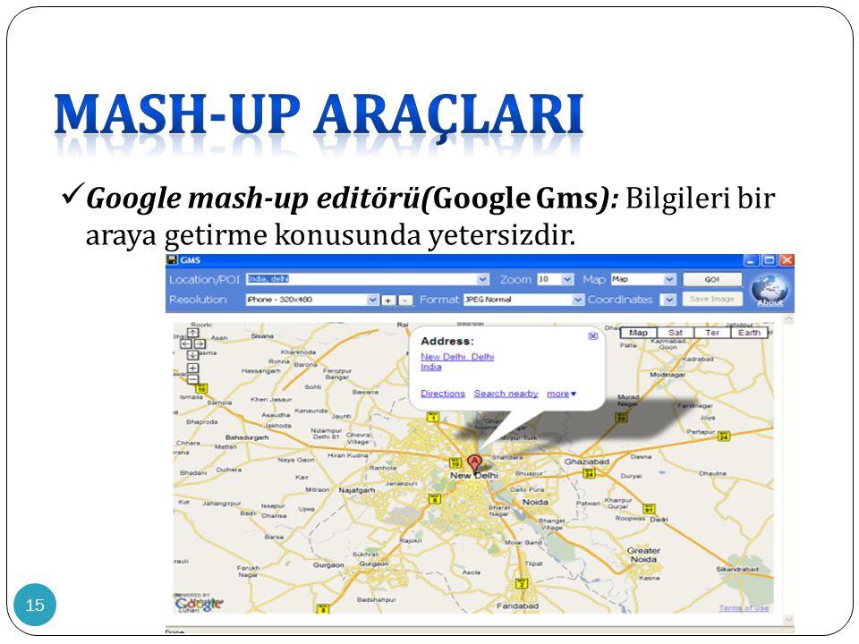 15  Google mash-up editörü(Google Gms): Bilgileri bir araya getirme konusunda yetersizdir.