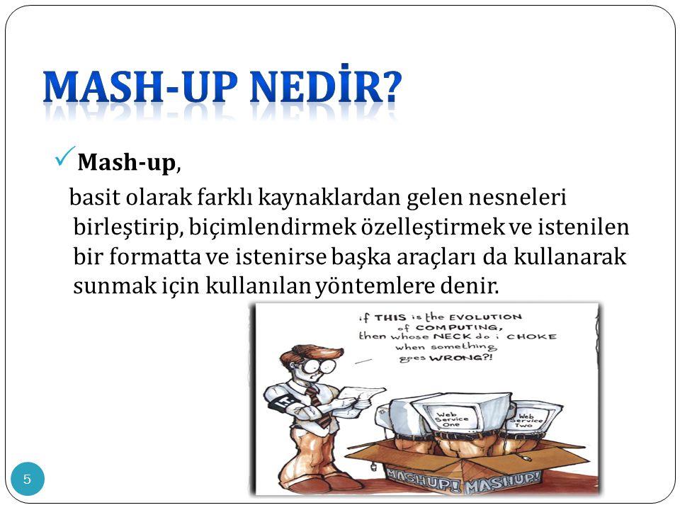 16  Eğitimde Mash-up' ın kullanılmasıyla; Öğrenci ve öğretmen dağınık halde bulunan bilgilere toplu halde ulaşır.