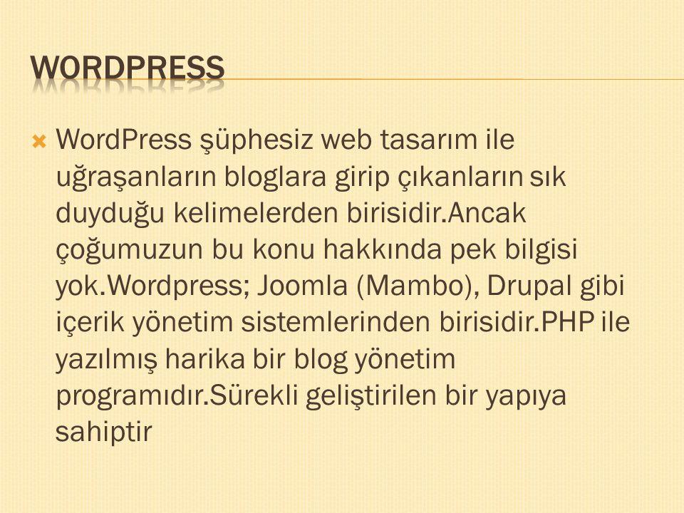  WordPress şüphesiz web tasarım ile uğraşanların bloglara girip çıkanların sık duyduğu kelimelerden birisidir.Ancak çoğumuzun bu konu hakkında pek bi