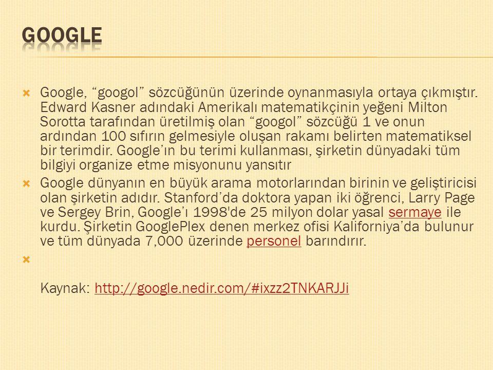 """ Google, """"googol"""" sözcüğünün üzerinde oynanmasıyla ortaya çıkmıştır. Edward Kasner adındaki Amerikalı matematikçinin yeğeni Milton Sorotta tarafından"""