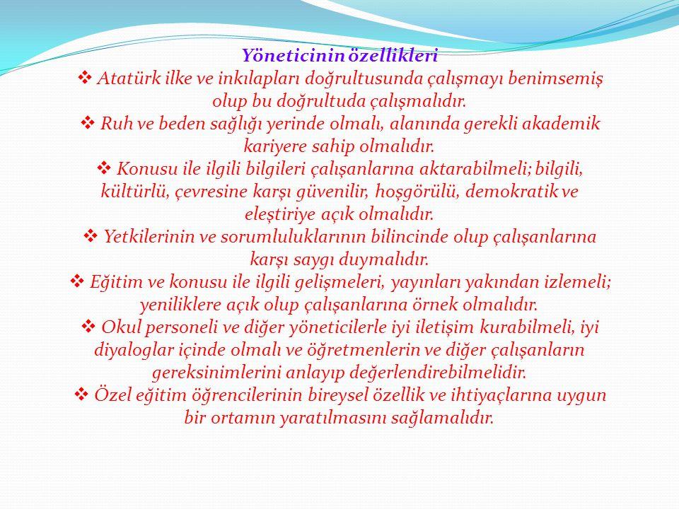 Yöneticinin özellikleri  Atatürk ilke ve inkılapları doğrultusunda çalışmayı benimsemiş olup bu doğrultuda çalışmalıdır.