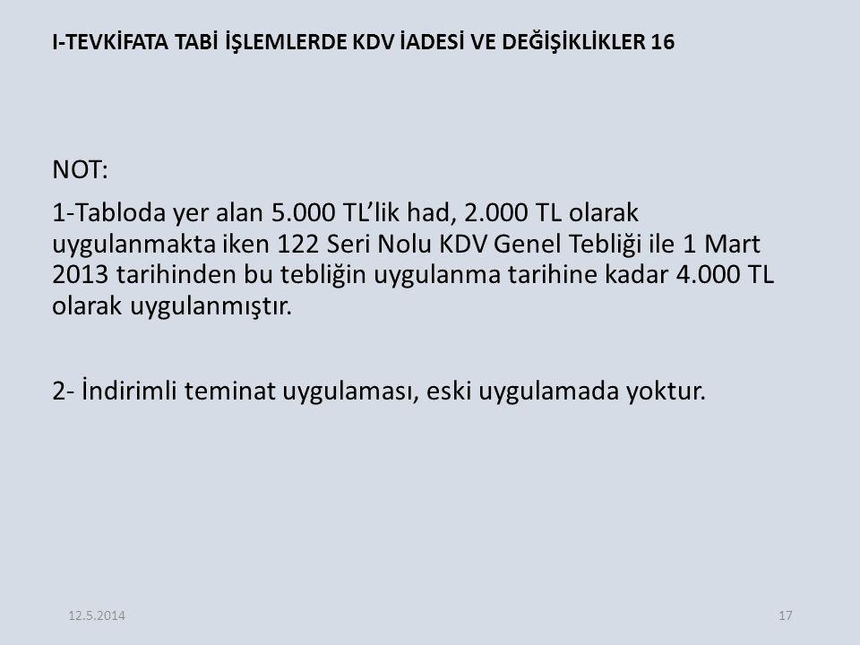 I-TEVKİFATA TABİ İŞLEMLERDE KDV İADESİ VE DEĞİŞİKLİKLER 16 NOT: 1-Tabloda yer alan 5.000 TL'lik had, 2.000 TL olarak uygulanmakta iken 122 Seri Nolu KDV Genel Tebliği ile 1 Mart 2013 tarihinden bu tebliğin uygulanma tarihine kadar 4.000 TL olarak uygulanmıştır.