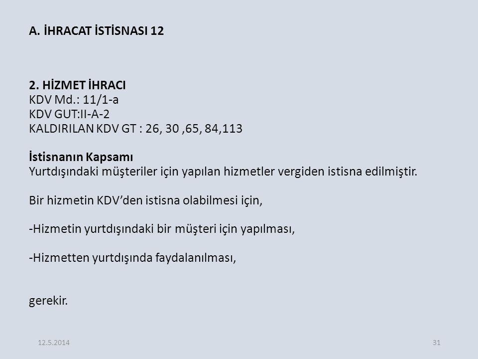 A.İHRACAT İSTİSNASI 12 2.