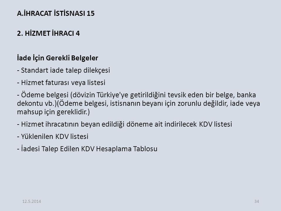 A.İHRACAT İSTİSNASI 15 2.