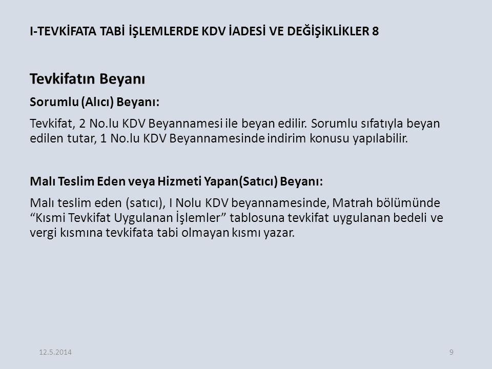 E.İNDİRİM VE İADE HAKKI TANINAN DİĞER İSTİSNALAR 1 1.