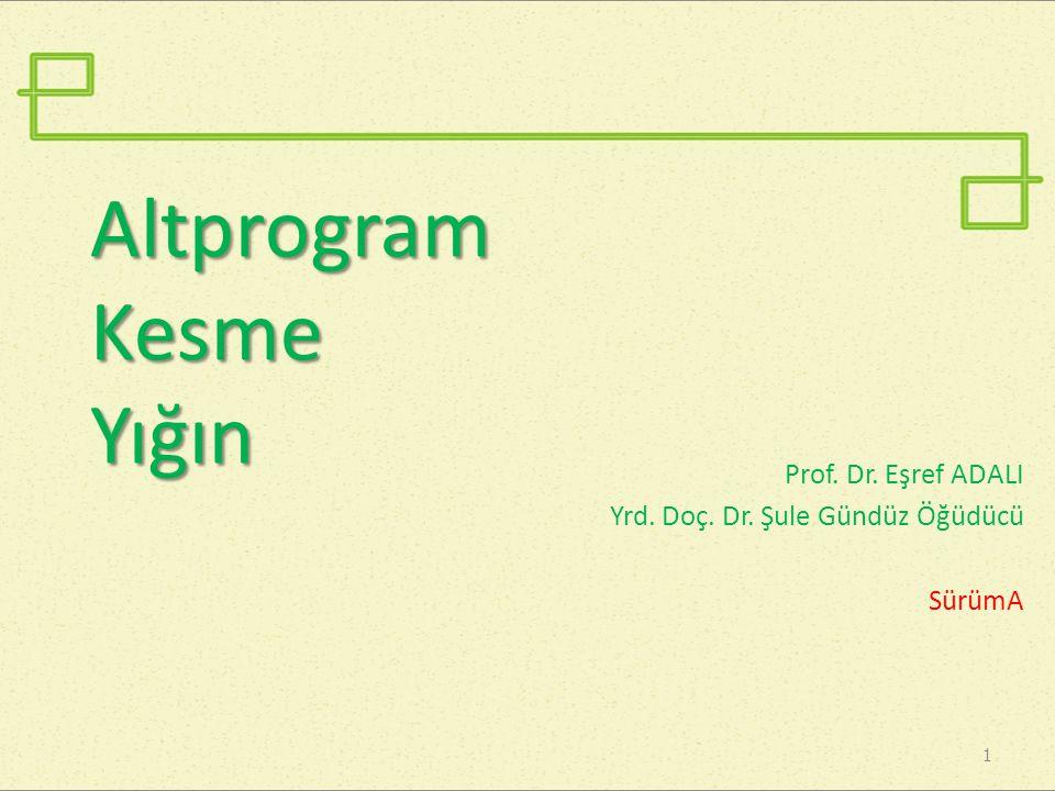 Altprogram Kesme Yığın Prof. Dr. Eşref ADALI Yrd. Doç. Dr. Şule Gündüz Öğüdücü SürümA 1
