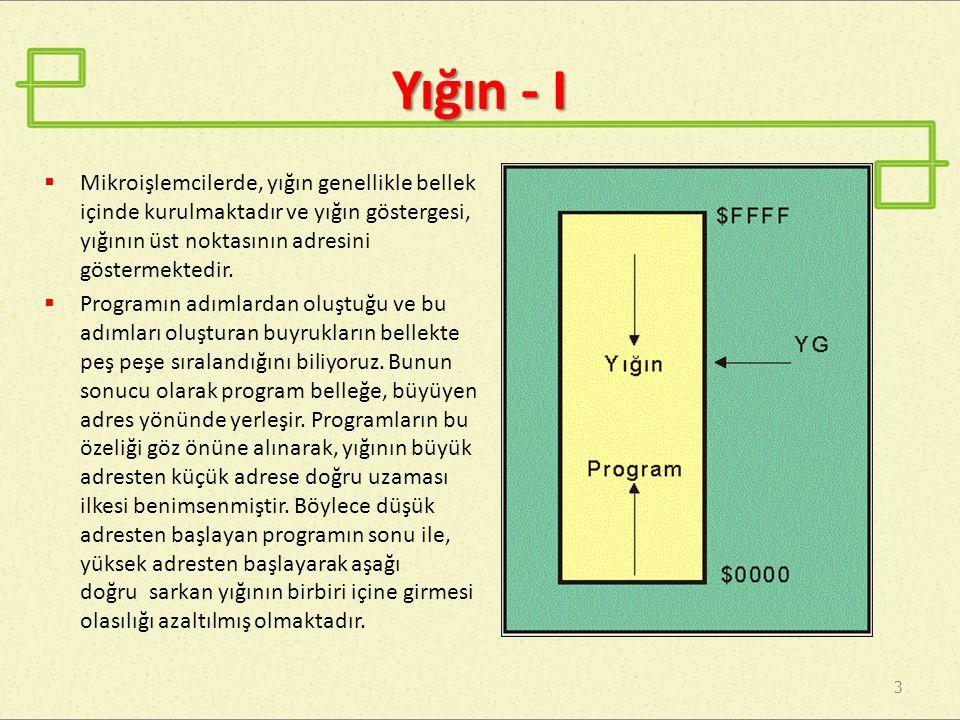 Yığın - II 4  Yığının iki tür kullanımı söz konusudur:  Program içinde, zaman zaman verilerin yığına atılması ve sonra geri çekilmesidir.