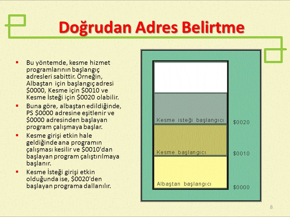 Dolaylı Adres Belirtme 9  Kesme hizmet programlarının başlangıç adresleri, belleğin belli gözlerine yazılarak belirtilir.