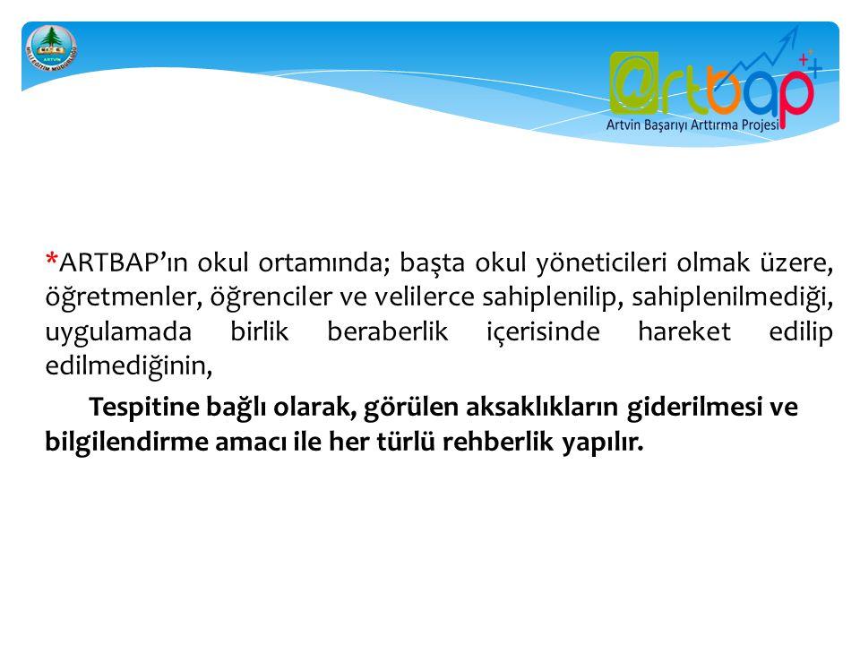  *ARTBAP'ın okul ortamında; başta okul yöneticileri olmak üzere, öğretmenler, öğrenciler ve velilerce sahiplenilip, sahiplenilmediği, uygulamada birl