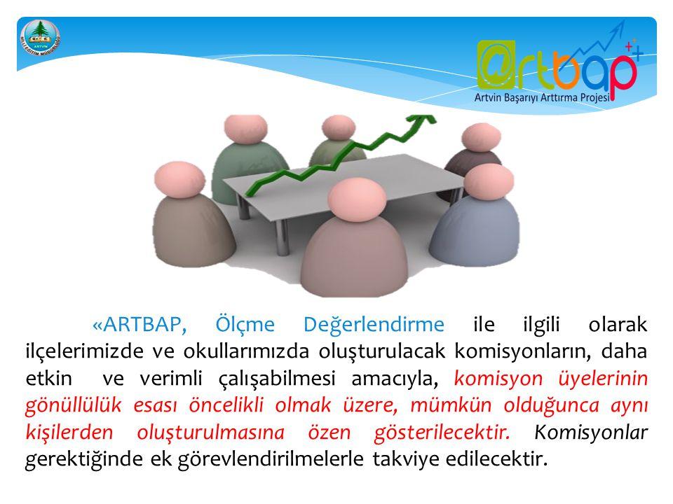 «ARTBAP, Ölçme Değerlendirme ile ilgili olarak ilçelerimizde ve okullarımızda oluşturulacak komisyonların, daha etkin ve verimli çalışabilmesi amacıyl