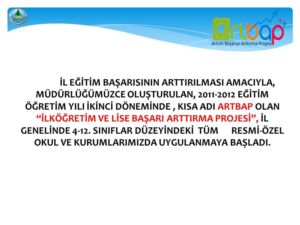 """İL EĞİTİM BAŞARISININ ARTTIRILMASI AMACIYLA, MÜDÜRLÜĞÜMÜZCE OLUŞTURULAN, 2011-2012 EĞİTİM ÖĞRETİM YILI İKİNCİ DÖNEMİNDE, KISA ADI ARTBAP OLAN """"İLKÖĞRE"""