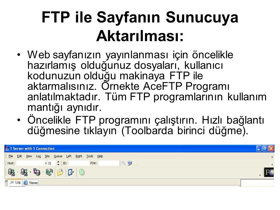 FTP ile Sayfanın Sunucuya Aktarılması: •Web sayfanızın yayınlanması için öncelikle hazırlamış olduğunuz dosyaları, kullanıcı kodunuzun olduğu makinaya