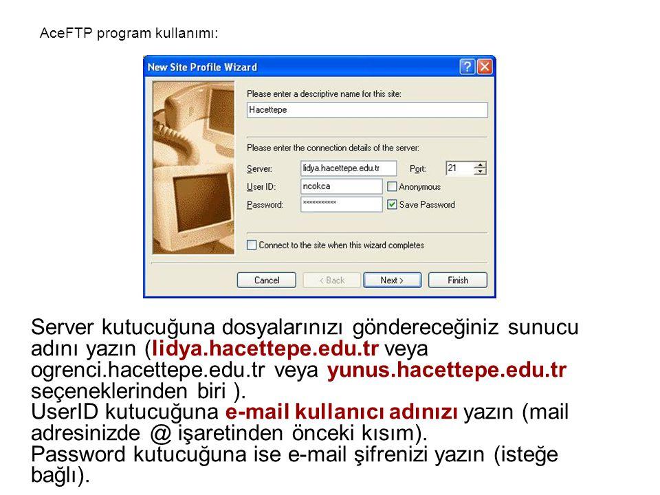 Server kutucuğuna dosyalarınızı göndereceğiniz sunucu adını yazın (lidya.hacettepe.edu.tr veya ogrenci.hacettepe.edu.tr veya yunus.hacettepe.edu.tr se