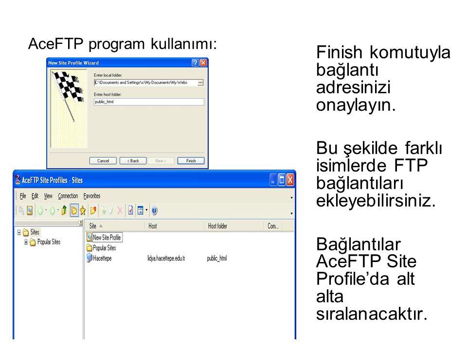 Finish komutuyla bağlantı adresinizi onaylayın. Bu şekilde farklı isimlerde FTP bağlantıları ekleyebilirsiniz. Bağlantılar AceFTP Site Profile'da alt