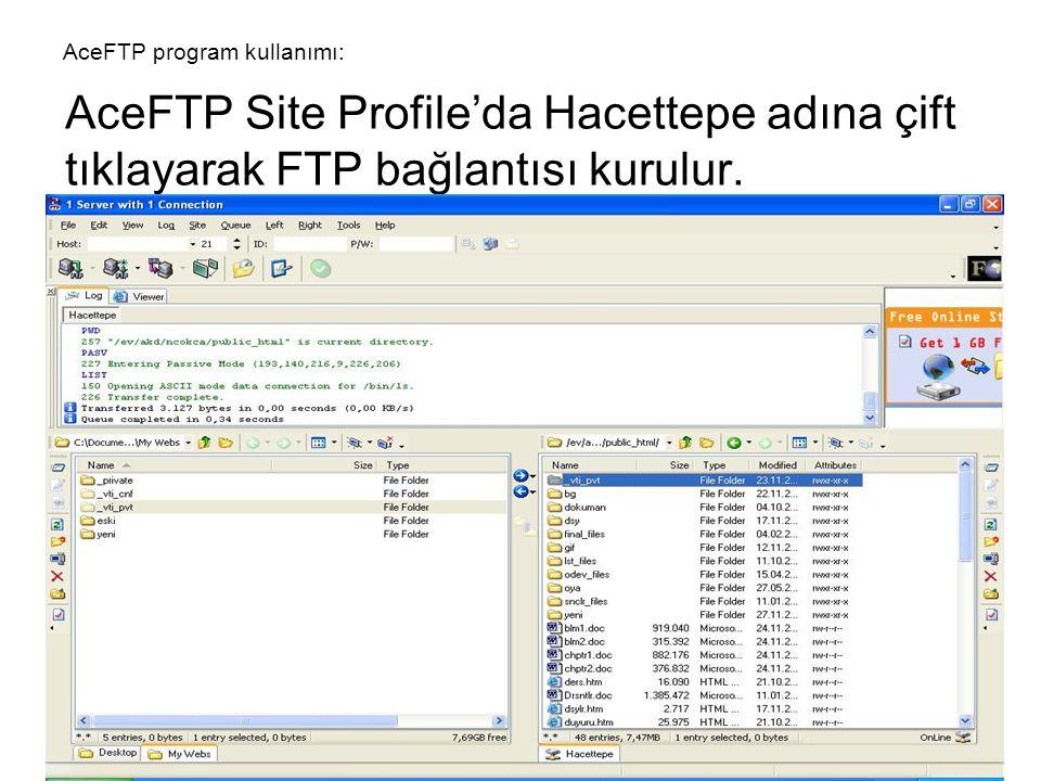 AceFTP Site Profile'da Hacettepe adına çift tıklayarak FTP bağlantısı kurulur. AceFTP program kullanımı: