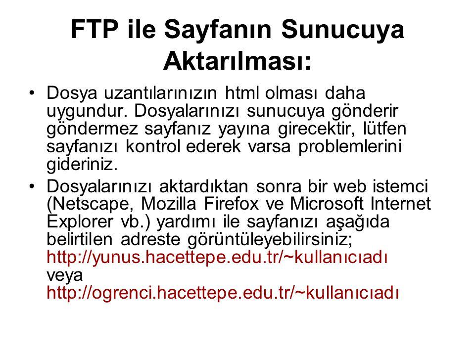 FTP ile Sayfanın Sunucuya Aktarılması: •Dosya uzantılarınızın html olması daha uygundur. Dosyalarınızı sunucuya gönderir göndermez sayfanız yayına gir