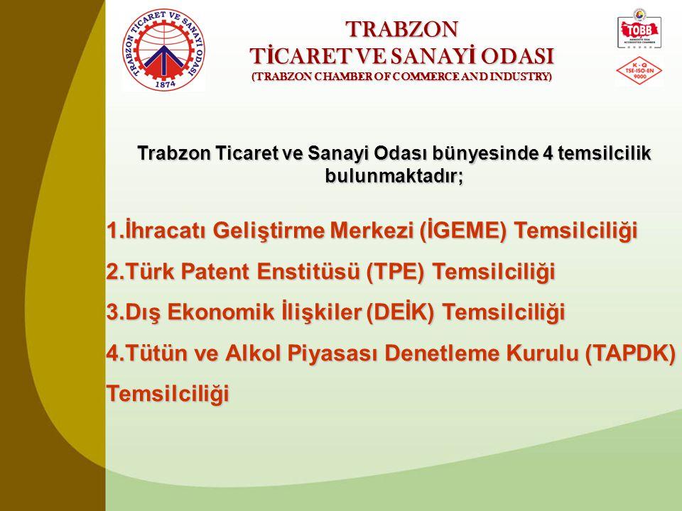 TRABZON T İ CARET VE SANAY İ ODASI (TRABZON CHAMBER OF COMMERCE AND INDUSTRY) Trabzon Ticaret ve Sanayi Odası bünyesinde 4 temsilcilik bulunmaktadır;