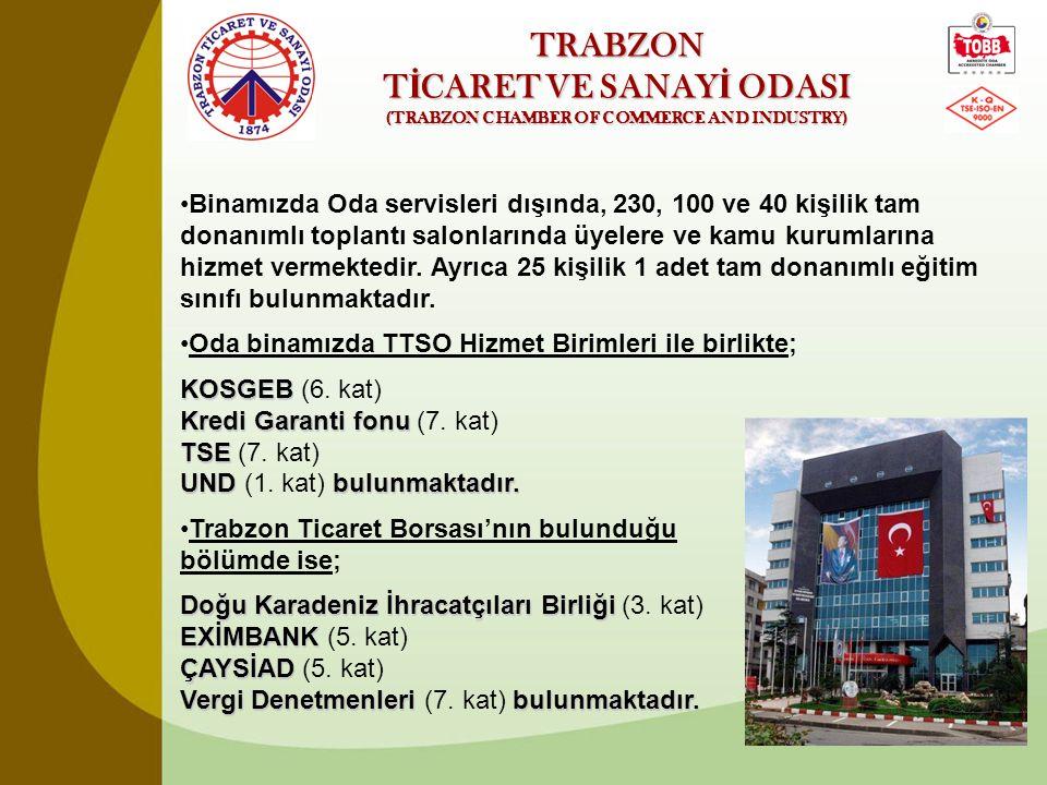 TRABZON T İ CARET VE SANAY İ ODASI (TRABZON CHAMBER OF COMMERCE AND INDUSTRY) •Trabzon Ticaret ve Sanayi Odası'nda 12 ayrı serviste toplam 30 Personel görev yapmaktadır.