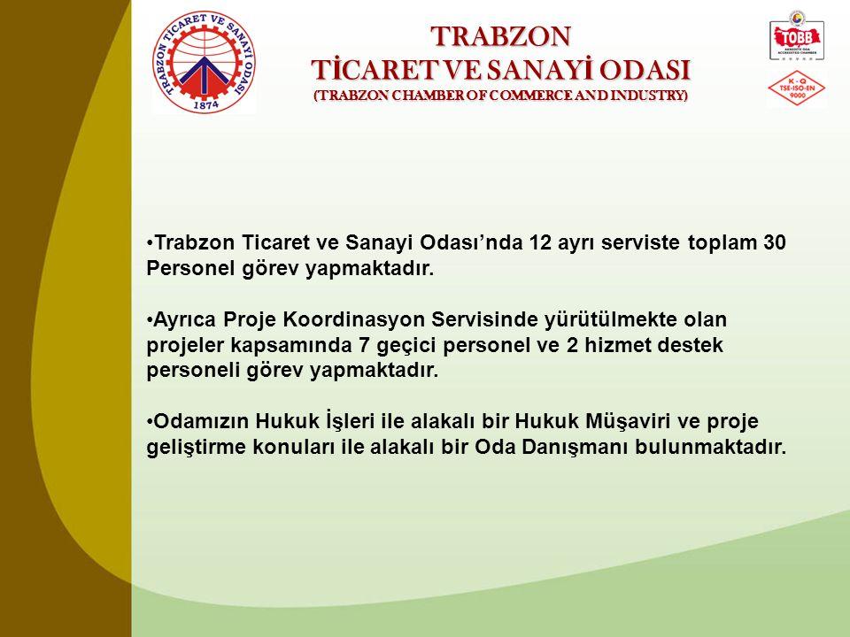 TRABZON T İ CARET VE SANAY İ ODASI (TRABZON CHAMBER OF COMMERCE AND INDUSTRY) •Trabzon Ticaret ve Sanayi Odası'nda 12 ayrı serviste toplam 30 Personel