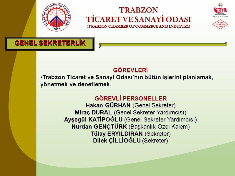 TRABZON T İ CARET VE SANAY İ ODASI (TRABZON CHAMBER OF COMMERCE AND INDUSTRY) GENEL SEKRETERLİK GÖREVLERİ •Trabzon Ticaret ve Sanayi Odası'nın bütün i
