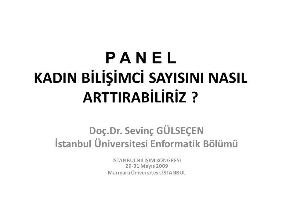 P A N E L KADIN BİLİŞİMCİ SAYISINI NASIL ARTTIRABİLİRİZ ? Doç.Dr. Sevinç GÜLSEÇEN İstanbul Üniversitesi Enformatik Bölümü İSTANBUL BİLİŞİM KONGRESİ 29