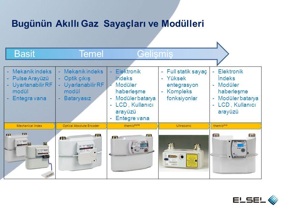 Bugünün Akıllı Gaz Sayaçları ve Modülleri -Mekanik indeks -Pulse Arayüzü -Uyarlanabilir RF modül -Entegra vana -Mekanik indeks -Optik çıkış -Uyarlanab