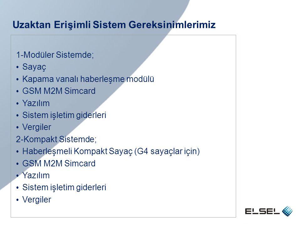 Uzaktan Erişimli Sistem Gereksinimlerimiz 1-Modüler Sistemde; • Sayaç • Kapama vanalı haberleşme modülü • GSM M2M Simcard • Yazılım • Sistem işletim g