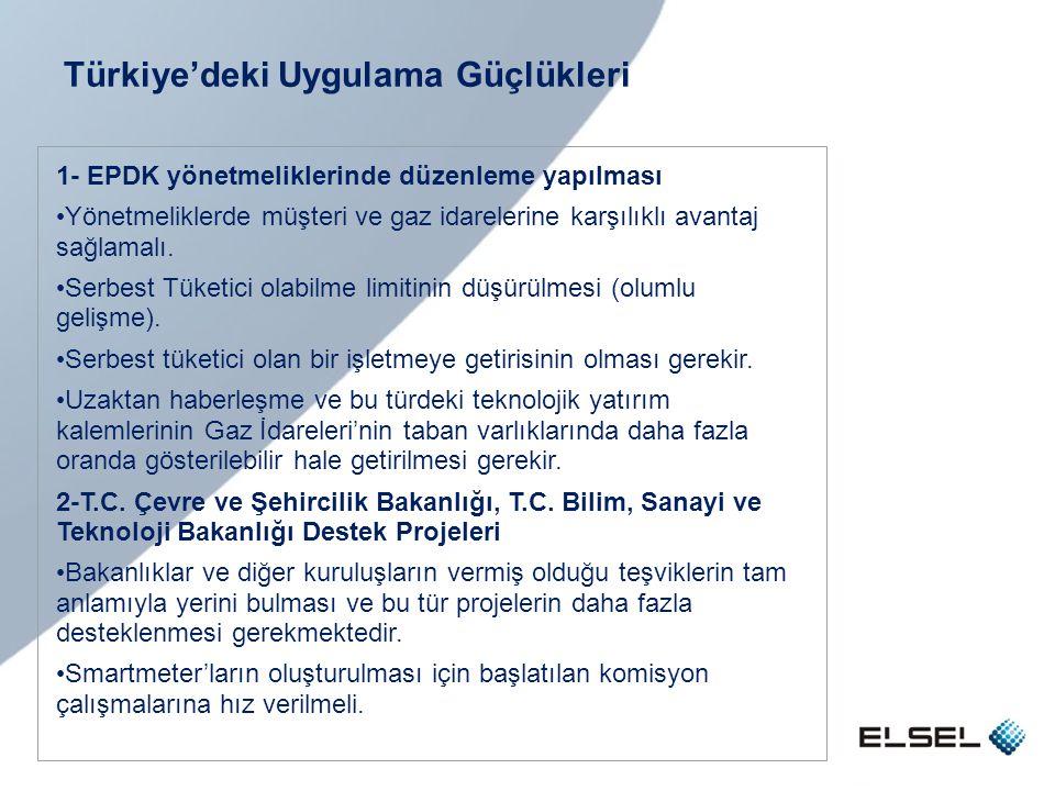 Türkiye'deki Uygulama Güçlükleri 1- EPDK yönetmeliklerinde düzenleme yapılması • Yönetmeliklerde müşteri ve gaz idarelerine karşılıklı avantaj sağlama