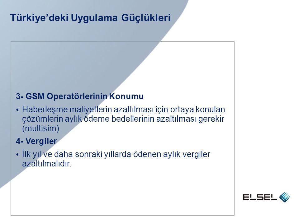 Türkiye'deki Uygulama Güçlükleri 3- GSM Operatörlerinin Konumu • Haberleşme maliyetlerin azaltılması için ortaya konulan çözümlerin aylık ödeme bedell