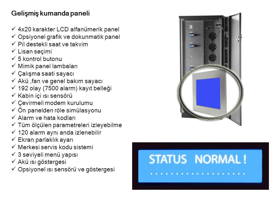 Gelişmiş kumanda paneli  4x20 karakter LCD alfanümerik panel  Opsiyonel grafik ve dokunmatik panel  Pil destekli saat ve takvim  Lisan seçimi  5