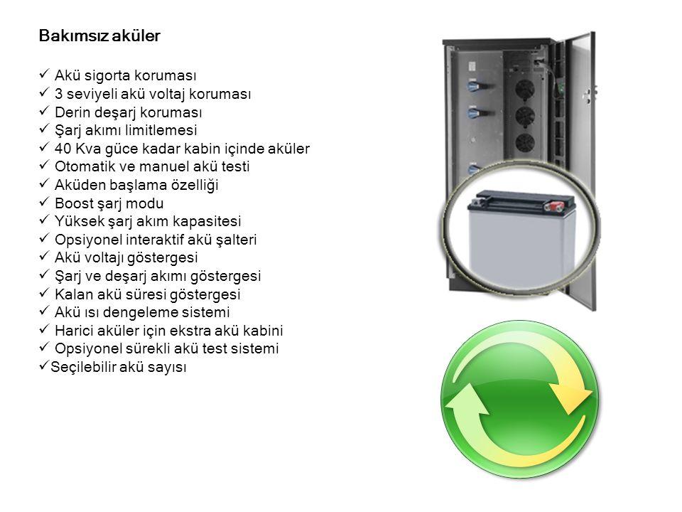 Gelişmiş kumanda paneli  4x20 karakter LCD alfanümerik panel  Opsiyonel grafik ve dokunmatik panel  Pil destekli saat ve takvim  Lisan seçimi  5 kontrol butonu  Mimik panel lambaları  Çalışma saati sayacı  Akü,fan ve genel bakım sayacı  192 olay (7500 alarm) kayıt belleği  Kabin içi ısı sensörü  Çevirmeli modem kurulumu  Ön panelden röle simülasyonu  Alarm ve hata kodları  Tüm ölçülen parametreleri izleyebilme  120 alarm aynı anda izlenebilir  Ekran parlaklık ayarı  Merkesi servis kodu sistemi  3 seviyeli menü yapısı  Akü ısı göstergesi  Opsiyonel ısı sensörü ve göstergesi
