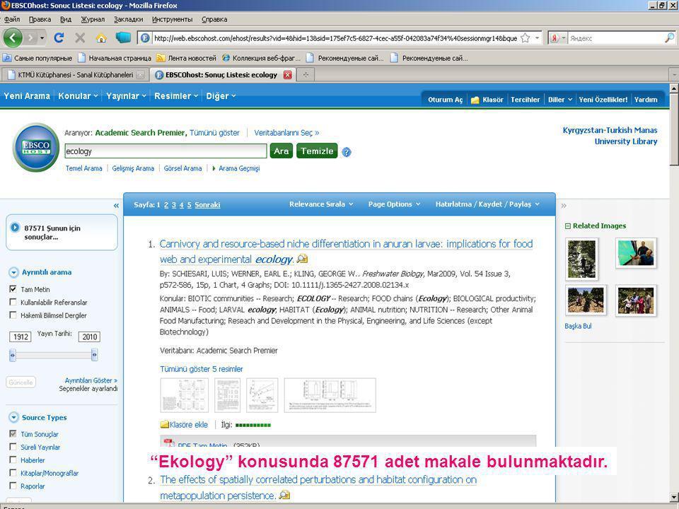Ekology konusunda 87571 adet makale bulunmaktadır.