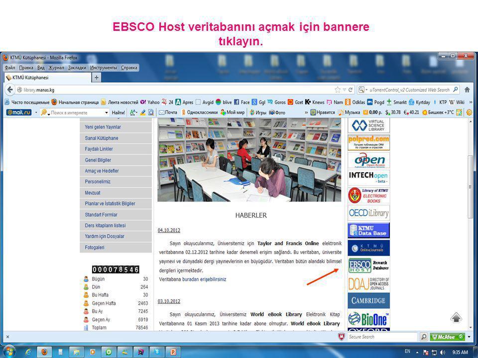 EBSCO Host veritabanını açmak için bannere tıklayın.
