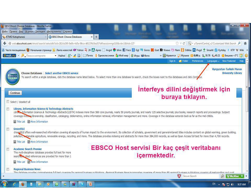 EBSCO Host servisi Bir kaç çeşit veritabanı içermektedir.