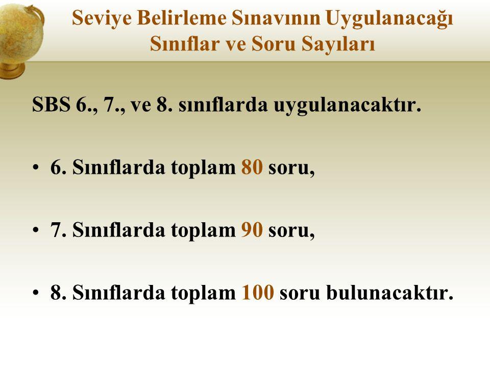 Seviye Belirleme Sınavının Uygulanacağı Sınıflar ve Soru Sayıları SBS 6., 7., ve 8.