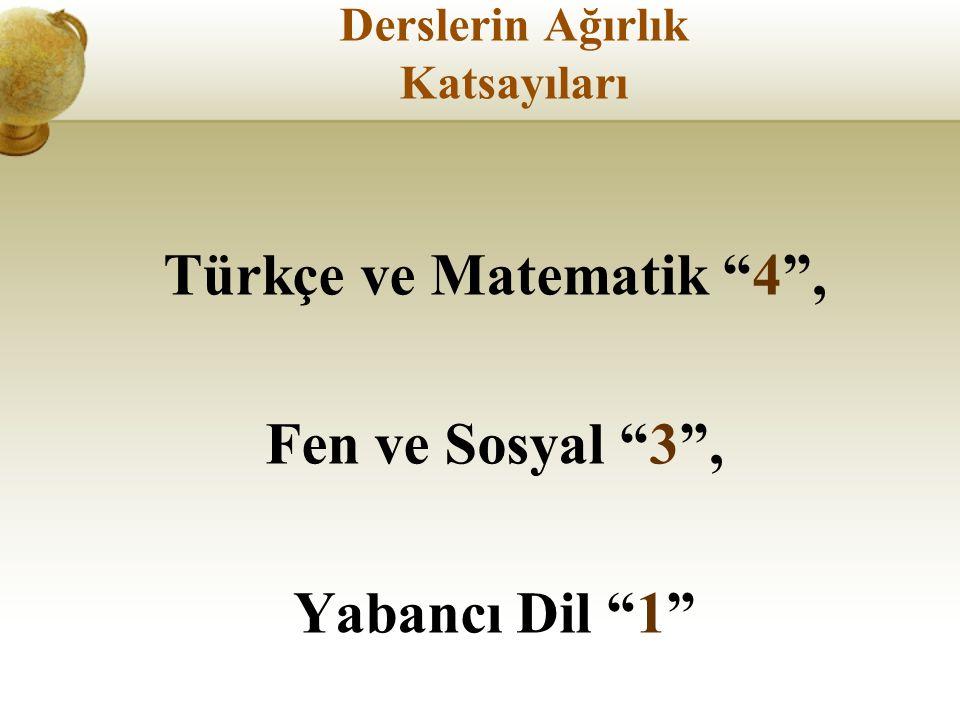 Derslerin Ağırlık Katsayıları Türkçe ve Matematik 4 , Fen ve Sosyal 3 , Yabancı Dil 1