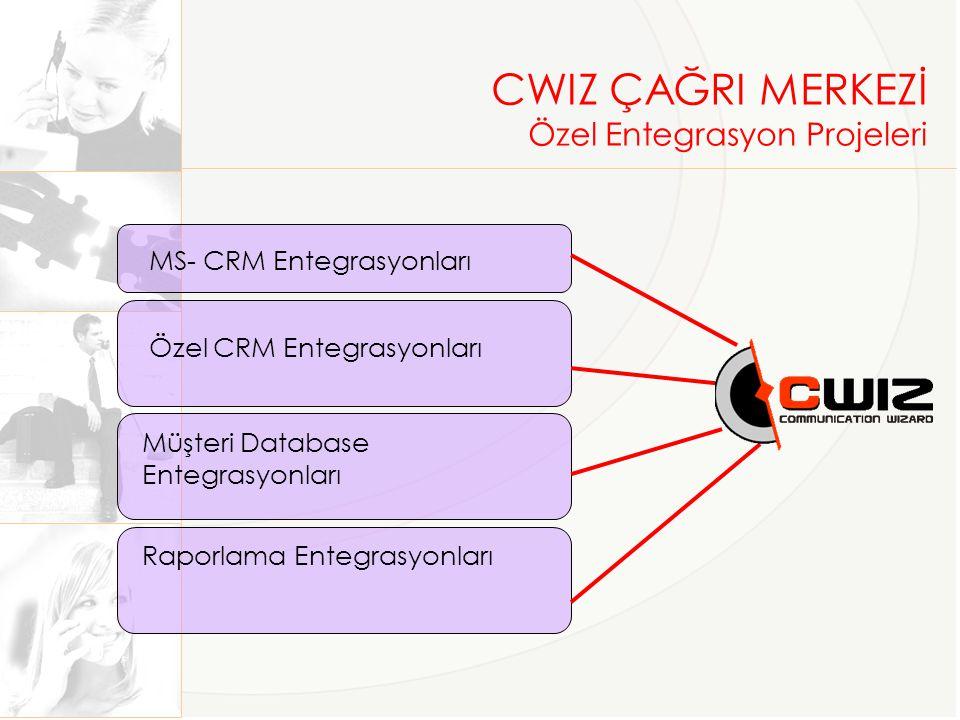 MS- CRM Entegrasyonları Özel CRM Entegrasyonları Müşteri Database Entegrasyonları Raporlama Entegrasyonları CWIZ ÇAĞRI MERKEZİ Özel Entegrasyon Projeleri