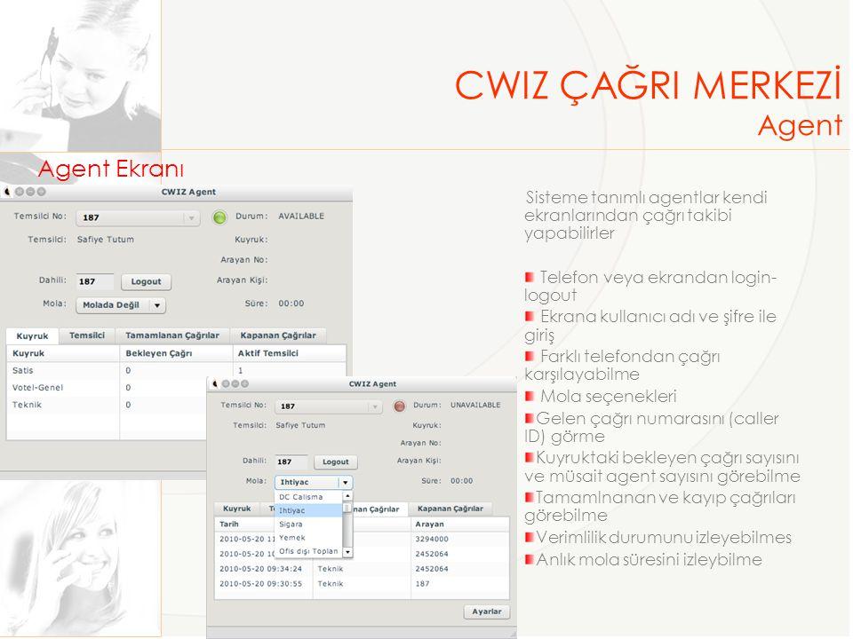 Agent Ekranı Sisteme tanımlı agentlar kendi ekranlarından çağrı takibi yapabilirler Telefon veya ekrandan login- logout Ekrana kullanıcı adı ve şifre ile giriş Farklı telefondan çağrı karşılayabilme Mola seçenekleri Gelen çağrı numarasını (caller ID) görme Kuyruktaki bekleyen çağrı sayısını ve müsait agent sayısını görebilme Tamamlnanan ve kayıp çağrıları görebilme Verimlilik durumunu izleyebilmes Anlık mola süresini izleybilme CWIZ ÇAĞRI MERKEZİ Agent