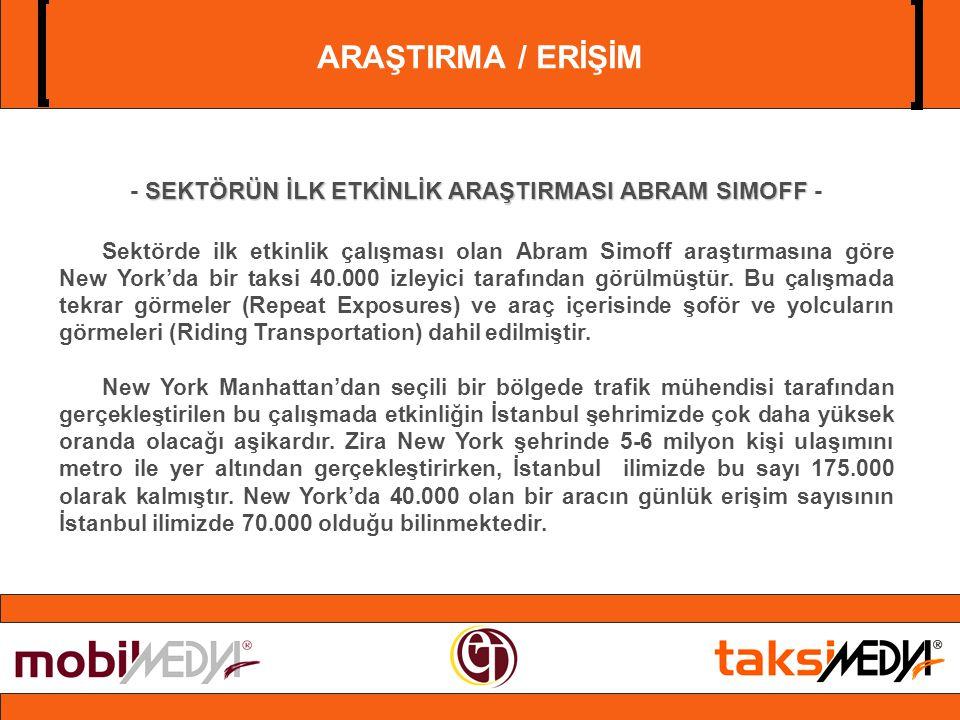 ARAŞTIRMA / ERİŞİM SEKTÖRÜN İLK ETKİNLİK ARAŞTIRMASI ABRAM SIMOFF - Sektörde ilk etkinlik çalışması olan Abram Simoff araştırmasına göre New York'da bir taksi 40.000 izleyici tarafından görülmüştür.