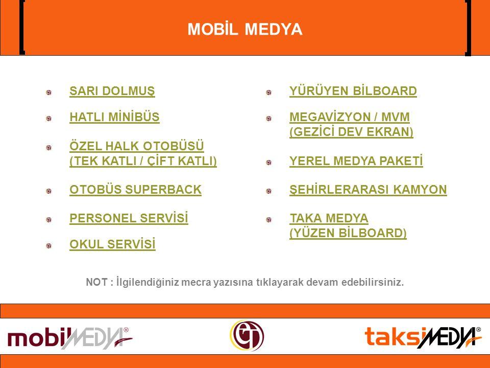 MOBİL MEDYA SARI DOLMUŞ HATLI MİNİBÜS ÖZEL HALK OTOBÜSÜ (TEK KATLI / ÇİFT KATLI) OTOBÜS SUPERBACK PERSONEL SERVİSİ OKUL SERVİSİ YÜRÜYEN BİLBOARD MEGAVİZYON / MVM (GEZİCİ DEV EKRAN) YEREL MEDYA PAKETİ ŞEHİRLERARASI KAMYON TAKA MEDYA (YÜZEN BİLBOARD) NOT : İlgilendiğiniz mecra yazısına tıklayarak devam edebilirsiniz.