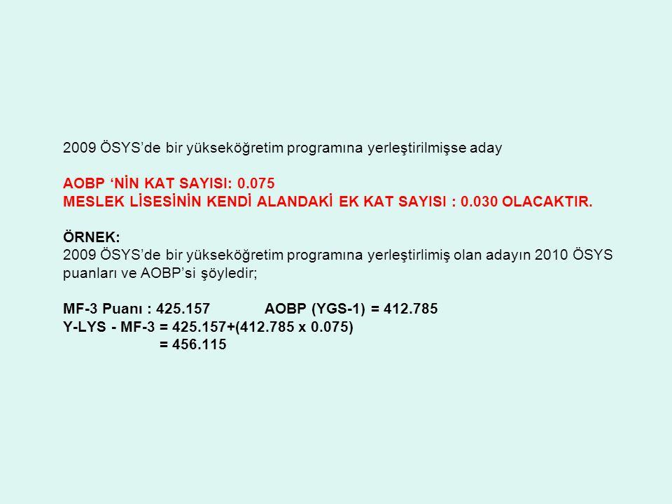 2009 ÖSYS'de bir yükseköğretim programına yerleştirilmişse aday AOBP 'NİN KAT SAYISI: 0.075 MESLEK LİSESİNİN KENDİ ALANDAKİ EK KAT SAYISI : 0.030 OLAC