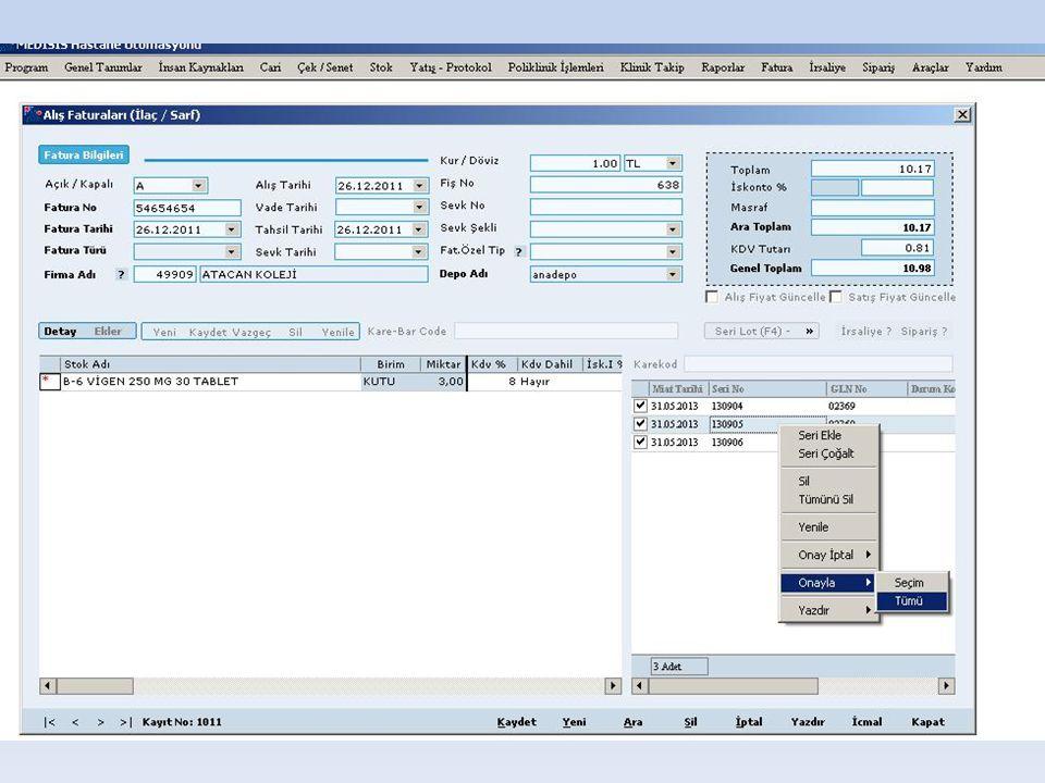 Karekod Etiket Basımı Etiket Basımı ; • Depo Transfer Ekranında • Fatura Ekranlarında mevcuttur.